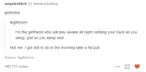 Two kinds of people.omg-humor.tumblr.com: surprisebitch e teamrocketing  janemba:  legitimism:  I'm the girlfriend who will stay awake all night rubbing your back as you  sleep, just so you sleep well.  Not me. I got shit to do in the morning take a NyQuil  Source: legitimism  445,711 notes Two kinds of people.omg-humor.tumblr.com