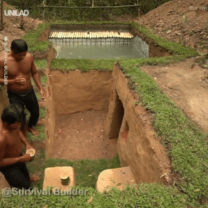 These guys built an underground house with a pool using only basic materials and the result is amazing 😲😱: Surviva  UNILAD  @StrvivafBuider  SURVIVAL BUILDER These guys built an underground house with a pool using only basic materials and the result is amazing 😲😱