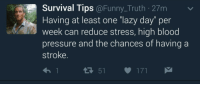 """Funny, Lazy, and Pressure: Survival Tips @Funny_Truth 27m  Having at least one """"lazy day"""" per  week can reduce stress, high blood  pressure and the chances of having a  stroke.  다 51  171 <p>Okay will do via /r/wholesomememes <a href=""""http://ift.tt/2klbIHF"""">http://ift.tt/2klbIHF</a></p>"""