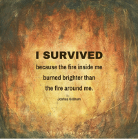 joshua graham: SURVIVED  because the fire inside me  burned brighter than  the fire around me.  Joshua Graham  n y