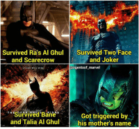 """I've seen so many posts about """"Roast Christian Bale's Batman"""" so I made one about Batfleck. 😂😂😂😂 . . . . . . . . . [ captainamericacivilwar dc spiderman theflash iamgroot avengers wonderwoman dceu greenlantern joker justiceleague theavengers guardiansofthegalaxy manofsteel superman batman batmanvssuperman civilwar deadshot marvel captainamerica ironman clarkkent suicidesquad benaffleck starlord henrycavill brucewayne flash ]: Survived Ra's Al Ghul  Survived Two Face  and Joker  and Scarecrow  @agentsof marvel  A FIRE WILL RISA  THESurvived RISES  Got triggered by  and Talia Al Ghul.  his mother's name I've seen so many posts about """"Roast Christian Bale's Batman"""" so I made one about Batfleck. 😂😂😂😂 . . . . . . . . . [ captainamericacivilwar dc spiderman theflash iamgroot avengers wonderwoman dceu greenlantern joker justiceleague theavengers guardiansofthegalaxy manofsteel superman batman batmanvssuperman civilwar deadshot marvel captainamerica ironman clarkkent suicidesquad benaffleck starlord henrycavill brucewayne flash ]"""