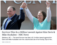 "News, Target, and Tumblr: Survivor Files $1.2 Million Lawsuit Against Kim Davis &  Mike Huckabee - NBC News  Salisbury, NC The band Survivor has filed a $1.2 million lawsuit against Kim  Davis and Mike Huckabee over the unauthorized use of its hit song ""Eye of the...  NBC.COM.CO <p><a class=""tumblr_blog"" href=""http://psyducked.tumblr.com/post/128751567927"" target=""_blank"">psyducked</a>:</p> <blockquote> <p>the universe is finally fighting back</p> </blockquote>"