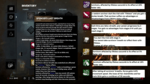 """Nurse rework idea. It makes her more lore accurate, as well as gives her some counterplay&makes her more fun to play as. This is just a concept and some things can be changed.: Survivors, affected by lifeless succumb to its effect at 20%  faster rate.  INVENTORY  POWER  ADD-ONS  OFFERING  1 random survivor start the trial with """"lifeless"""" and you gain 1  stolen breath. That survivor suffers no advantages or  disadvantages from Lifeless status effect.  SPENCER'S LAST BREATH  POWER  [F1] CHARACTER INFO  PERKS  A powerful and violent last breath, snatched from Crotus Prenn  Asylum warden Patric Spencer. Challening its energy allows The  Nurse to pierce and jump through the spirit world in a blink  multiple times in a row. Doing so leaves Nurse in a state of  fatigue. Nurse can can Survivors' lifeforce to make herself  Each time you take a breath, your power progresses by 2  stages. You gain no advantages from stages II-IV until you  reach stage V.  stronger.  Nurse takes survivors' breath every time she puts them into Dying  state for the first time and her power grows 1 stage further.  You start the trial with stage V.  You cannot take survivors' breath nor affect them with  lifeless.  Trumps all other addons.  Stage I, No breath taken:  INVENTORY/F 1 blink. O chain blinks. 20 meters blink distance. Slow charge rate.  4 seconds fatigue. Nurse is completely silent.  Stage II, 1 breath taken:  1 blink. O chain blinks. 24 meters blink distance. Default  charge rate. 3.5 seconds fatigue. Nurse is completely silent.  Stage III, 2 breaths taken:  Current nurse. (Not silent, 3 sec CD on blinks etc)  Survivors affected by lifeless succumb to its effect at 5%  faster rate  Stage IV, 3 breaths taken:  Nurse's FOV while in fatigue is increased by 15 degrees.  Stage V, 4 breaths taken:  Nurse has 0 cooldown on blinks.  Survivors affected by lifeless succumb to its effect at 10%  faster rate.  Survivors whose breath was snatched are affected  by """"Lifeless"""" Status effect.  Survivors"""
