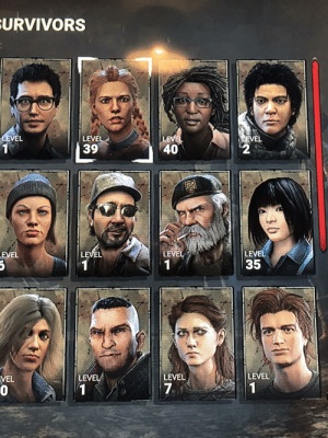 Who should I rank up next ? My build as of now is DS, Self care, lithe and adrenaline.: SURVIVORS  LEVEL  LEVEL  40  LEVEL  LEVEL  39  LEVEL  LEVEL  LEVEL  LEVEL  35  LEVEL  LEVEL  LEVEL  VEL  1  1  30 Who should I rank up next ? My build as of now is DS, Self care, lithe and adrenaline.