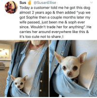 "Club, Crying, and Cute: Sus@SusanEllise  Today a customer told me he got this dog  almost 2 years ago & then added ""yup we  got Sophie then a couple months later my  wife passed, just been me & soph ever  since. Wouldn't trade her for anything"". He  carries her around everywhere like this &  it's too cute not to share /:  1 Post 1839: y am I crying in the club rn"