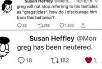 """Bailey Jay, Memes, and Tumblr: Susan Heftley Mom... 10i8ri8  greg will not stop referring to his testicles  as """"gregsticles"""". how do i discourage him  from this behavior?  932  218 v1.200  Susan Heffley @Mom  greg has been neutered.  918  182  1 30-minute-memes:  Wtf Susan"""