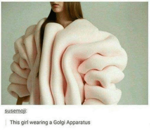 Reddit, Girl, and Cell: susemoji:  This girl wearing a Golgi Apparatus Why would anyone cell this?