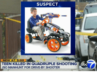 Abc, Drive By, and Memes: SUSPECT  NEW AT 5: OO  TEEN KILLED IN QUADRUPLE SHOOTING  JSO MANHUNT FOR DRIVE-BY SHOOTER  abc smh can't even walk down the street safely these days😧.....🍩c