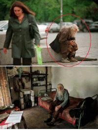 Clothes, Money, and Respect: Sv 98 year old Dobri Dobrev, a man who lost most of his hearing in the second world war, has traveled 25 kilometers every day for decades from his village in his homemade clothes and leather shoes to the city of sofia - a trip he made by foot until recently - where he spends the day begging for money. Though a well recognized fixture around several of the city's Churches, known for his prostrations of thanks to all donors, it was only recently discovered that he has donated every penny he has collected — over 40,000 euros — towards the restoration of decaying bulgarian monasteries and churches and the utility bills of orphanages, living entirely off his monthly state pension of 80 euros and the kindness of others.  1 Share = Respect  More at Inspirational Quotes <3