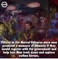 Iron Man, Ironic, and Memes: SVF  Villains in the Marvel Universe were once  promised a measure of amnesty if they  would register with the government and  help Iron Man track down and capture  outlaw heroes. Would you do it!!! 🤔 villain villains thanos marvelvillains marvel marvelfacts fact facts marvelcomics comic comics government