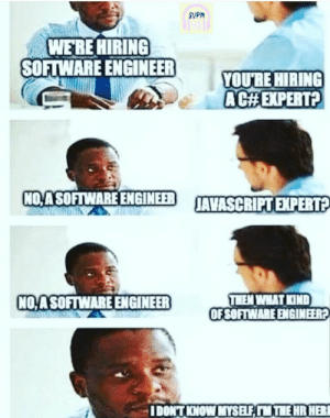 He means a LittleBitOfEverything expert: SVPM  WE'RE HIRING  SOFTWARE ENGINEER  YOU'RE HIRING  AC#EXPERT?  NO,ASOFTWARE ENGINEER  JAVASCRIPT EXPERT?  THEM WHAT KIND  OF SOFTWARE ENGINEER?  NO ASOFTWARE ENGINEER  IDONT KNOW MYSELF, M THE HR HERI He means a LittleBitOfEverything expert