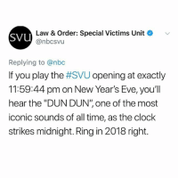 "Clock, Memes, and Time: sVU  Law & Order: Special Victims Unit  @nbcsvu  Replying to @nbc  If you play the #SVU opening at exactly  11:59:44 pm on New Year's Eve, you'll  hear the ""DUN DUN"" one of the most  iconic sounds of all time, as the clock  strikes midnight. Ring in 2018 right. VERY important info!!!!! (@girlwithnojob)"