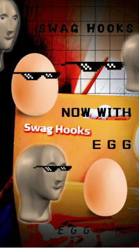 Swag, Now, and e.g: SWAC HOOKS  NOW WITH  Swag Hooks  E G G