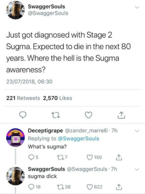 the hard truth by Lucario_00 FOLLOW HERE 4 MORE MEMES.: SwaggerSouls  @SwaggerSouls  Just got diagnosed with Stage 2  Sugma. Expected to die in the next 80  years. Where the hell is the Sugma  awareness?  23/07/2018, 06:30  221 Retweets 2,570 Likes  Deceptigrape @zander_marrelli 7h  Replying to @SwaggerSouls  What's sugma?  SwaggerSouls @SwaggerSouls 7h  sugma dick  18 38 622 the hard truth by Lucario_00 FOLLOW HERE 4 MORE MEMES.