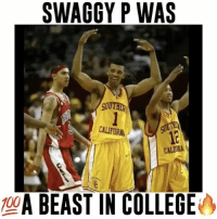 Memes, Nick Young, and Usc: SWAGGY P WAS  GOUTHER  CALIFORA  CALIAA  100  A BEAST IN COLLEGE Nick Young was splashing 3's since USC🔥😨