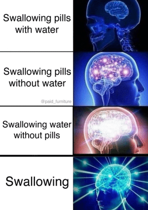 I swallow: Swallowing pills  with water  Swallowing pills  without water  @paid_furniture  Swallowing water|  without pills  Swallowing I swallow