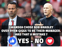 Swansea looking like relegation candidates.. did they make a mistake ?: SWANSEA CHOSE BOB BRADLEY  OVER RYAN GIGGS TO BE THEIR MANAGER.  WAS THAT A MISTAKE?  YES NO  (v) Swansea looking like relegation candidates.. did they make a mistake ?