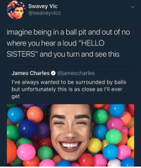 """shisshsheter: Swavey Vic  @swaveyvicc  imagine being in a ball pit and out of no  where you hear a loud """"HELLO  SISTERS"""" and you turn and see this  James Charles @jamescharles  I've always wanted to be surrounded by balls  but unfortunately this is as close as I'll ever  get shisshsheter"""