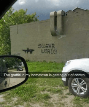 Graffiti, Control, and Words: SWEAR  WORDS  The graffiti in my hometown is getting out of control 👍