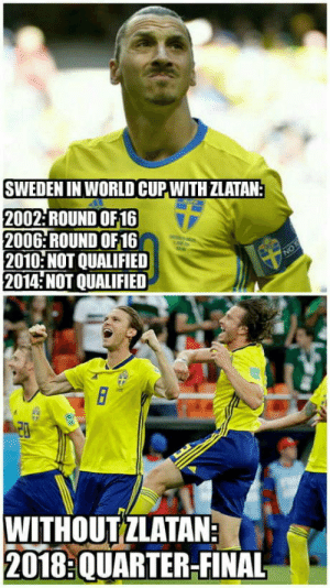 Club, Tumblr, and World Cup: SWEDEN IN WORLD CUP WITH ZLATAN:  2002: ROUND OF16  2006: ROUND OF16  2010 NOT QUALIFIED  2014 NOT QUALIFIED  WITHOUTZLATAN  2018:QUARTER-FINAL laughoutloud-club:  Poor Zlatan