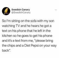 "Memes, Phone, and Pepsi: Swedish Canary  @SwedishCanary  So I'm sitting on the sofa with my son  watching TV and he hears he got a  text on his phone that he left in the  kitchen so he goes to get his phone  and it's a text from me, ""please bring  the chips and a Diet Pepsi on your way  back"" Absolutely destroying the parenting game."