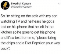 "Instagram, Memes, and Phone: Swedish Canary  @SwedishCanary  So I'm sitting on the sofa with my son  watching TV and he hears he got a  text on his phone that he left in the  kitchen so he goes to get his phone  and it's a text from me, ""please bring  the chips and a Diet Pepsi on your way  back"" @thearchbish0pofbanterbury has to be the greatest account on Instagram😂"