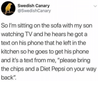 "Memes, Phone, and Pepsi: Swedish Canary  @SwedishCanary  So I'm sitting on the sofa with my son  watching TV and he hears he got a  text on his phone that he left in the  kitchen so he goes to get his phone  and it's a text from me, ""please bring  the chips and a Diet Pepsi on your way  back"" <p>The little joys of parenting via /r/memes <a href=""http://ift.tt/2H99zXr"">http://ift.tt/2H99zXr</a></p>"