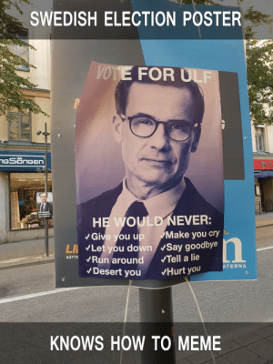 Dank, Meme, and Memes: SWEDISH ELECTION POSTER  VOTE FOR ULF  Give you up Make you cry  LI Let you down Say goodbye  RATTKRun around Tell a lie  ATERNA  Desert you Hurt you  KNOWS HOW TO MEME Always on the pulse of time by -sUBzERoo- MORE MEMES