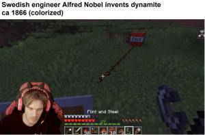 Swedish, Steel, and Flint: Swedish engineer Alfred Nobel invents dynamite  ca 1866 (colorized)  THT  Flint and Steel  27 400  12 10  58 He would go on and found the brofist-price