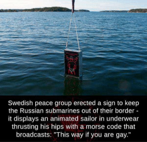 "Brain, Russian, and Swedish: Swedish peace group erected a sign to keep  the Russian submarines out of their border -  it displays an animated sailor in underwear  thrusting his hips with a morse code that  broadcasts: ""This way if you are gay."" Big brain"