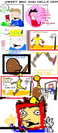 """Driving, Dunk, and Jealous: SWEET BRO AND HELLA JEFF  bro i  got a ticket  for the  IG  GAME  i AM SO  JEALOUS  you KNOW  i love the  th  the big game.  sports  1내 1  .  AMI  oh yeah  and there he goes  the big man..  HASS the rock  he""""s driving SO HARD  threw the paint  op  ahlly yoop""""  or  á the  SLAM-DUNK"""