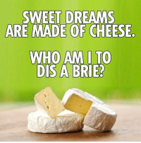 sweet: SWEET DREAMS  ARE MADE OF CHEESE  WHO AM I TO  DIS A BRIE?
