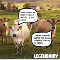 Cheesy 😂😂 https://t.co/T2CukYVeJr: Sweet dreams are  made of cheese.  Who am I to diss  a brie?  I cheddar the world  and the feta cheese.  Everybody's looking  for stilton  LEGENDAIRY Cheesy 😂😂 https://t.co/T2CukYVeJr