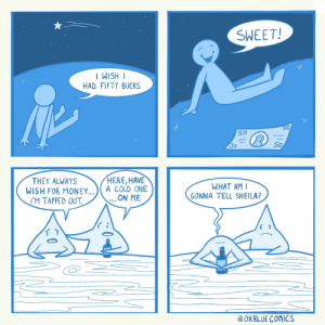 Thanks, I hate talking stars: SWEET!  //  | HSIM I  HAD FIFTY BUCKS.  \ /  50  50  50  50  HERE, HAVE  A COLD ONE  ON ME.  THEY ALWAYS  WISH FOR MONEY...  WHAT AM I  GONNA TELL SHEILA?  IM ΤΑΡΡED οUT  @ OKBLUE COMICS Thanks, I hate talking stars