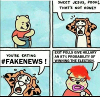Memes, 🤖, and Honey: SWEET JESUS, POOH  THAT'S NOT HONEY  EXIT POLLS GIVE HILLARY  YOU'RE EATING  AN 87% PROBABILITY OF  FAKENEWS WINNING THE ELECTION.