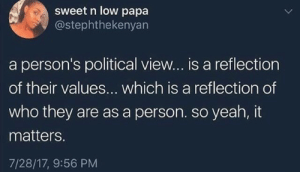 It Matters: sweet n low papa  @stephthekenyan  a person's political view... is a reflection  of their values... which is a reflection of  who they are as a person. so yeah, it  matters  7/28/17, 9:56 PM