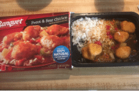 Anaconda, Chicken, and Reality: Sweet & Sour Chicken  SINCE 1953  MADE IN THE USA  Sweet & Sour Chicken on a Bed of Rice  MADE WITIH  100%  NATURAL  CHICKEN BREAST  WITH RIB MEAT  inassan T9.25 02 262g  W7 <p>Expectations VS Reality - Sweet & Sour chicken…</p>