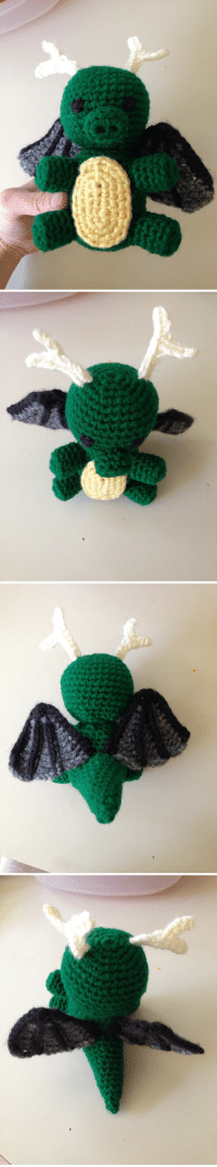 Love, Some More, and Target: sweetmintparade:  Tohru amigurumi prototype is done!! Gonna finalize the pattern and make some more–I love how the wings turned out, especially after all the trial  error.