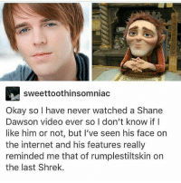 Internet, Shrek, and Okay: sweettoothinsomniac  Okay so l have never watched a Shane  Dawson video ever so I don't know if I  like him or not, but I've seen his face on  the internet and his features really  reminded me that of rumplestiltskin on  the last Shrek. I'm dEAD
