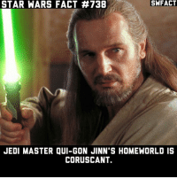 Jedi, Memes, and Star Wars: SWFACT  STAR WARS FACT #738  JEDI MASTER QUI-GON JINN'S HOMEWORLD IS  CORUSCANT. Before you say that all Jedi are from Coruscant, that is where they go to train and live when they are Jedi yes, but their homeworld is where they were born.
