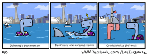 Omg, Tumblr, and Blog: Swimming is great exercise!  Particularly when escaping sharks!!  -Or mischievious girlfriends! omg-images:  The Misadventures of Quark #16 - A Leisurely Swim [OC]