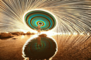 Sticks, Steel, and Wool: Swinging a string of glow sticks with burning steel wool at the end
