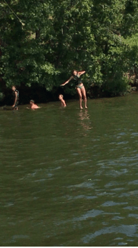 Rope, Swinging, and Swing: Swinging off a rope swing.