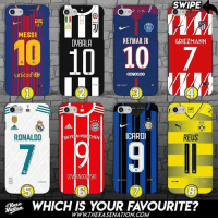 Memes, Neymar, and Link: SWIPE  MESSI  OYBALA  NEYMAR JR  GRIEZMANN  1010 10  unicef  BVB  RONALDO  BAYE N MUNCHEN  ICARDI  REUS  LEV  SKI  0  WHICH IS YOUR FAVOURITE?  Mase  WWWTHEKASENATION. COM I need number 27🔥 @thekasenation 😍 Which one do you need? Order yours (link in @thekasenation bio) www.thekasenation.com