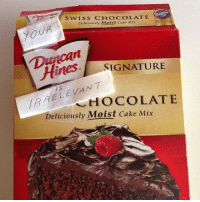 IRRELEVANT: Swiss CHOCOLATE  Deliciously Moist Cake Mix  Hines SIGNATURE  RELEVANT  CHOCOLATE  Deliciously Moist Cake Mix IRRELEVANT
