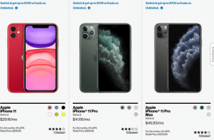 Verizon's website makes it look like every iPhone is the same size: Switch & get up to $700 w/trade on  Switch & get up to $700 w/trade on  Switch & get up to $700 w/trade on  Unlimited.  Unlimited.  Unlimited.  Apple  iPhone® 11 Pro  Apple  iPhone® 11 Pro  Маx  Apple  iPhone 11  Starts at  Starts at  Starts at  $41.66/mo  $29.16/mo  $45.83/mo  For 24 months, 0% APR;  Retail Price: $999.99  For 24 months, 0% APR;  Retail Price: $699.99  For 24 months, 0% APR;  Retail Price: $1099.99  (7 Reviews  (6 Reviews)  (9 Reviews)  Feedback Verizon's website makes it look like every iPhone is the same size