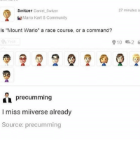 "Community, Mario Kart, and Memes: Switzer Daniel Switzer  27 minutes a  Mario Kart 8 Community  Is ""Mount Wario"" a race course, or a command?  910 2  precumming  I miss miiverse already  Source: precumming Both - Max textpost textposts"