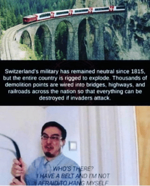 Switzerland in a nutshell by Menal226 MORE MEMES: Switzerland's military has remained neutral since 1815,  but the entire country is rigged to explode. Thousands of  demolition points are wired into bridges, highways, and  railroads across the nation so that everything can be  destroyed if invaders attack.  and  ds across the nation so  WHO'S THERE?  i HAVE A BELT AND IM NOT  AFRAID TO HANG MYSELF Switzerland in a nutshell by Menal226 MORE MEMES