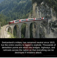 Memes, Switzerland, and Wired: Switzerland's military has remained neutral since 1815,  but the entire country is rigged to explode. Thousands of  demolition points are wired into bridges, highways, and  railroads across the nation so that everything can be  destroyed if invaders attack.  fb.com/factsv weird