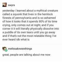 Crying, Memes, and Time: SWyrs  yesterday i learned about a mythical creature  called a squonk that lives in the hemlock  forests of pennsylvania and is so ashamed  of how it looks that it spends 80% of its time  crying, only comes out at night, and if you  corner it it will literally physically dissolve into  a puddle of its own tears until you go away  and if that's not the most relatable thing ive  ever heard idk what is  melissaknowsthings  great, people are talking about me now why do ppl hate on soy milk so much the soy milk didn't do anything to u - Max textpost textposts